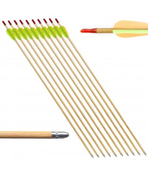 10 Frecce Freccia per Arco Tiro Bersaglio Legno Archi 20 60 Libbre 27.5 Pollici