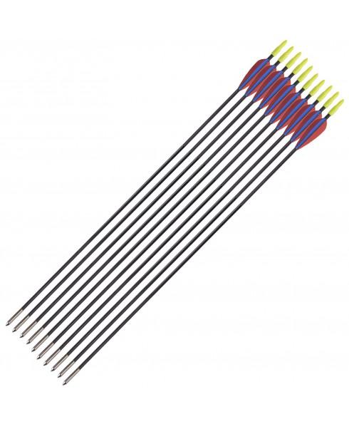 10 Frecce Freccia per Arco Tiro Bersaglio Fibra Archi 28.5 Pollici