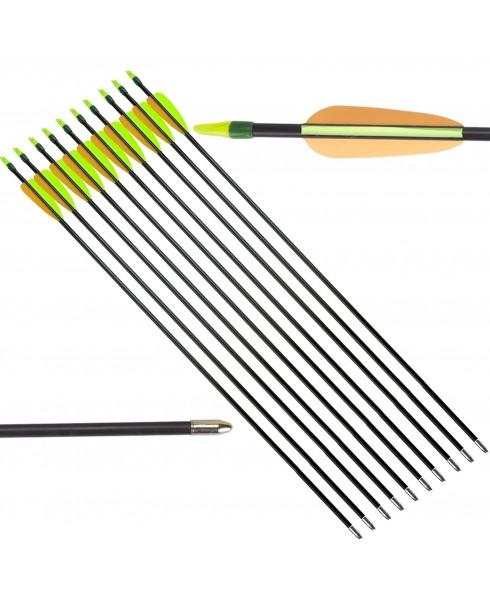 10 Frecce Freccia per Arco Tiro Bersaglio Fibra Vetro Archi 20 60 Libbre Punta
