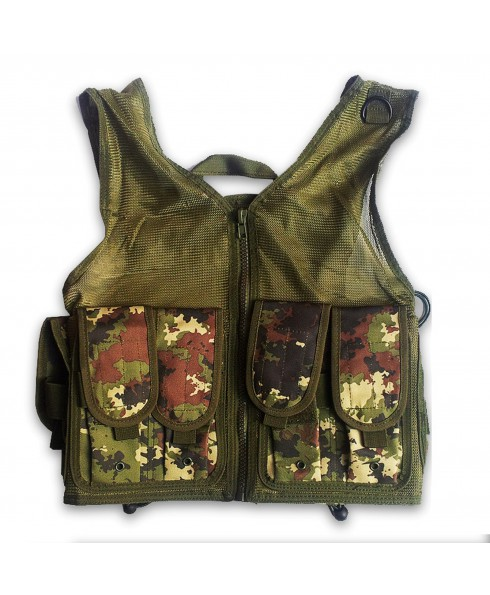 GILET GIUBBOTTO CORPETTO TATTICO VERDE MILITARE VEGETATO ITALIANO PER SOFTAIR