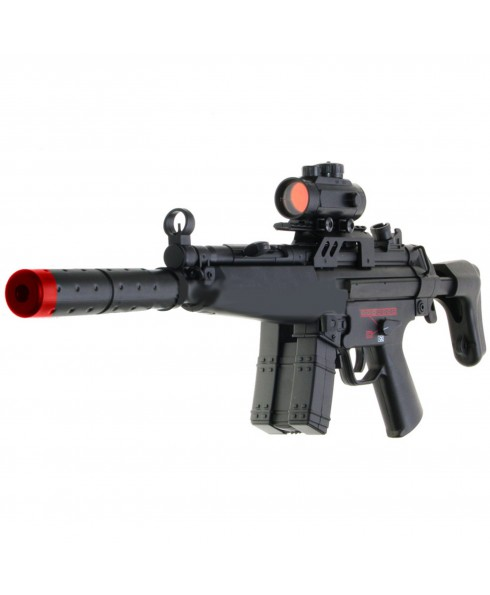 FUCILE MITRA ELETTRICO REPLICA MP5 IN ABS PER SOFTAIR SOFT AIR CON RED DOT SILENZIATORE DOUBLE CYMA CM023