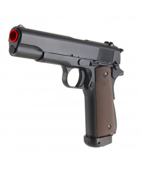 PISTOLA A MOLLA IN ABS PLASTICA PER SOFTAIR SOFT AIR TIPO COLT 1911 CON PAD KWC KWKA112