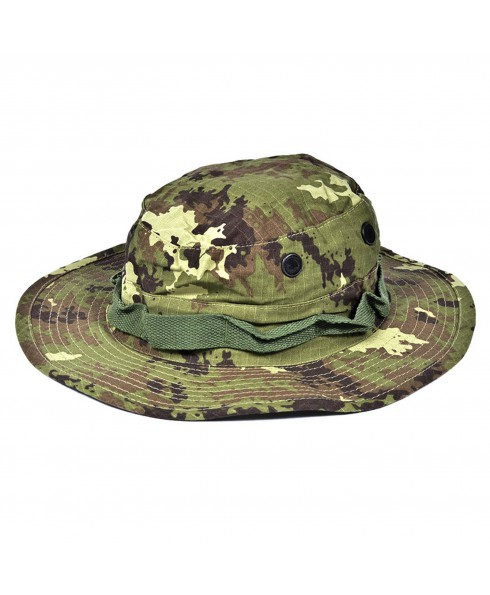 CAPPELLO BERRETTO JUNGLE MILITARE VEGETATO ITALIANO PER SOFTAIR CACCIA TAGLIA L