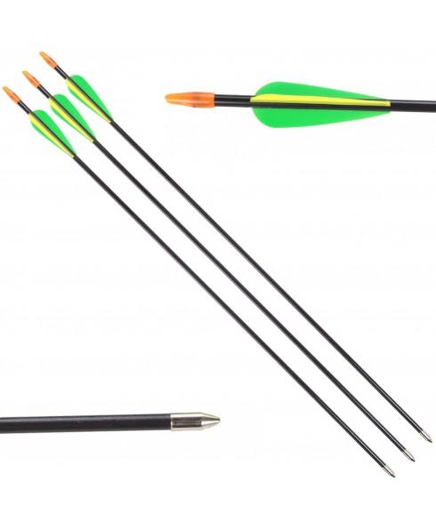 3 Frecce Freccia per Arco Tiro a Bersaglio in Fibra di Vetro 26 Pollici