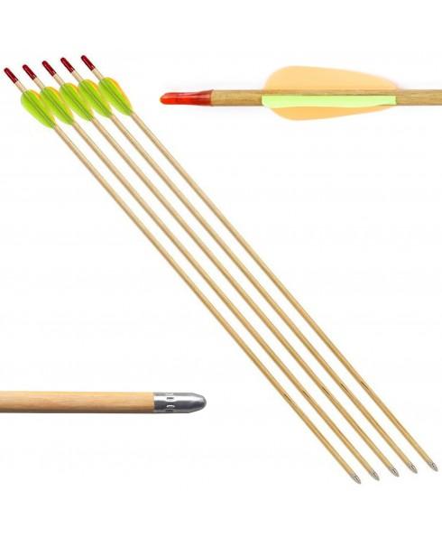 5 Frecce Freccia per Arco 60 Libbre Tiro a Bersaglio in Legno Archi 27.5 Pollici