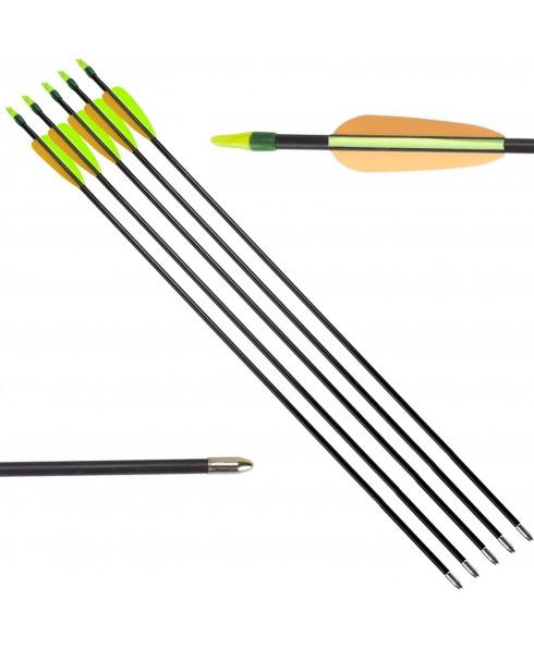 5 Frecce Freccia per Arco Tiro a Bersaglio Fibra di Vetro Archi 28 Pollici Punta