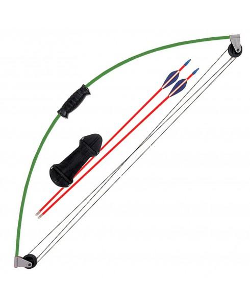 Set Arco Compound per Ragazzi Fibra di Vetro 10 Libbre Bear 2 Frecce Parabraccio