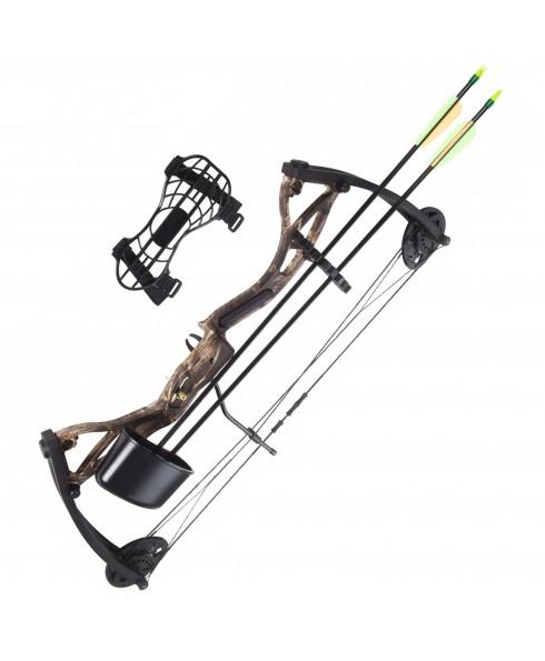 Arco Compound 17 26 Libbre Kit con Accessori Frecce Faretra da Tiro Sport Camo