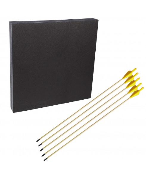 Kit tiro con l'arco battifreccia sintetico 60x60cm frecce in legno 29 pollici