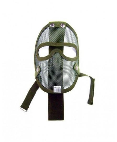 Maschera Tattica Facciale Verde Taglia Unica Rete in Metallo Softair Caccia
