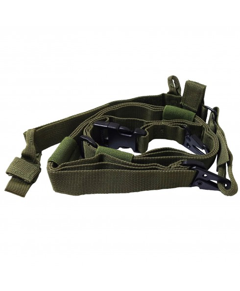 Cinghia da Tracolla tattica Imbracatura 3 Punti per Fucile Softair Verde