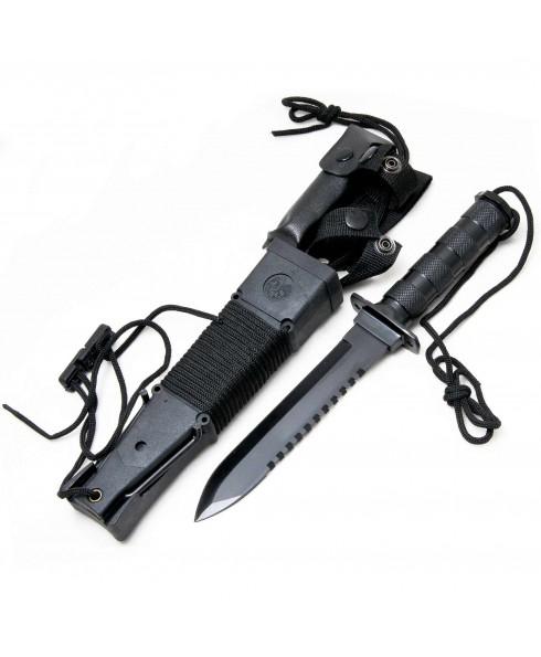Coltello Rambo Nero H6 Kit Sopravvivenza Torcia