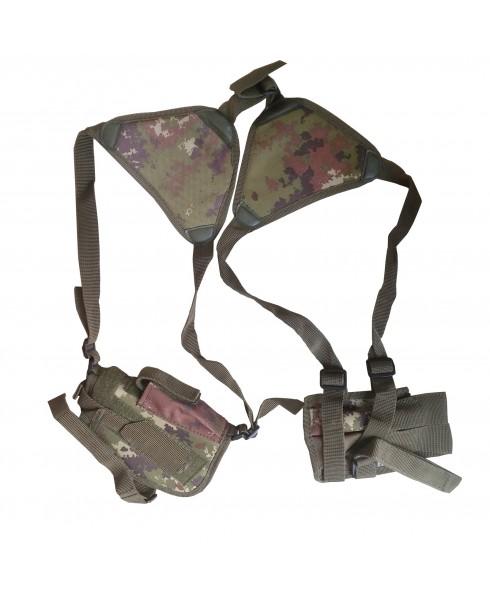 Fondina Ascellare per Pistola in Cordura 2 Caricatori Militare Mimetica Softair