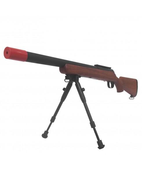 Fucile Sniper a Molla VSR10 per Softair Short In Finto Legno con Bipiede