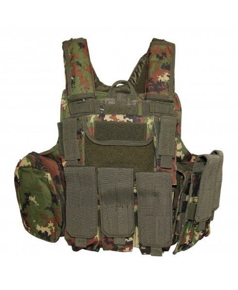 Gilet Tattico Softair Caccia Tactical Vest Militare Molle Vegetato Italiano