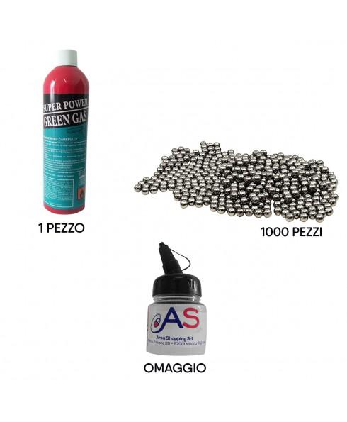 Kit Softair Bombola Gas 1000ml + 1000 Pallini 6mm Metallo + Portapallini Omaggio