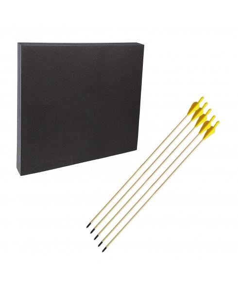 """Kit Battifreccia Booster 80x80cm e 5 Frecce in legno punta fissa acciaio 29"""""""