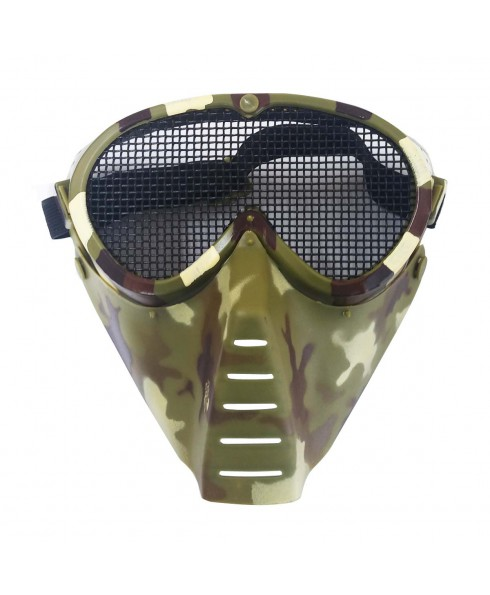 Maschera Protezione Facciale Vegetata con Rete per Softair