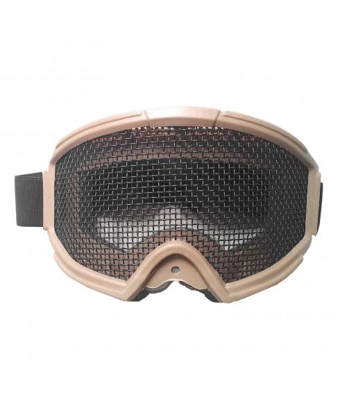 Maschera di Protezione Protettiva per Viso Regolabile per Softair Paintball TAN