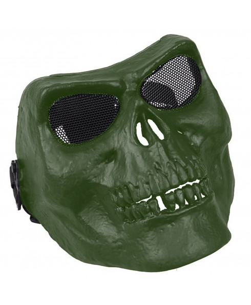 Maschera di Protezione Facciale Copri Viso Skull Mask Teschio per SoftAir Verde