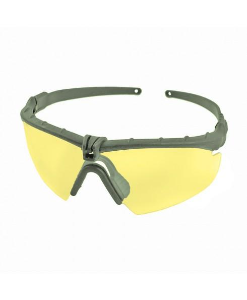 Occhiali Protettivi per Softair Militari Balistici Verdi Lenti Gialle