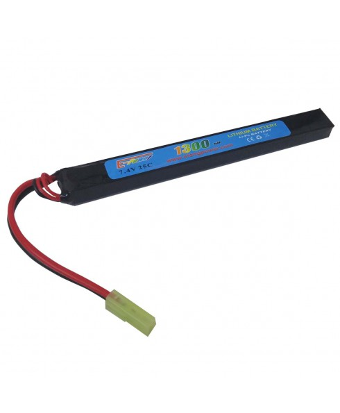 Batteria Lipo 7.4V 1300 mAh Ricaricabile 25C Softair