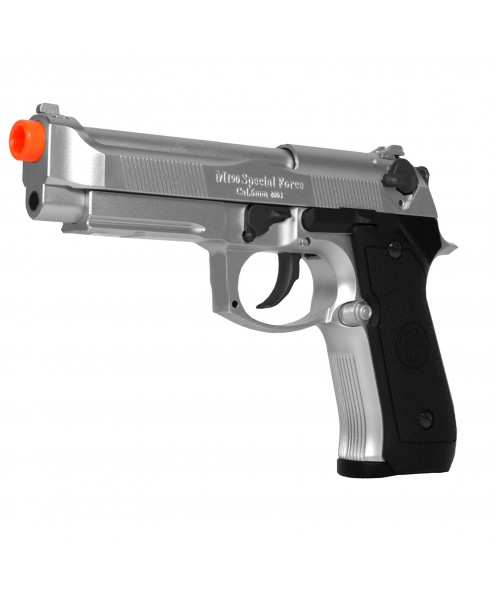 Pistola Beretta 92FS a GAS CO2 Scarrellante in Abs Metallo Silver Softair