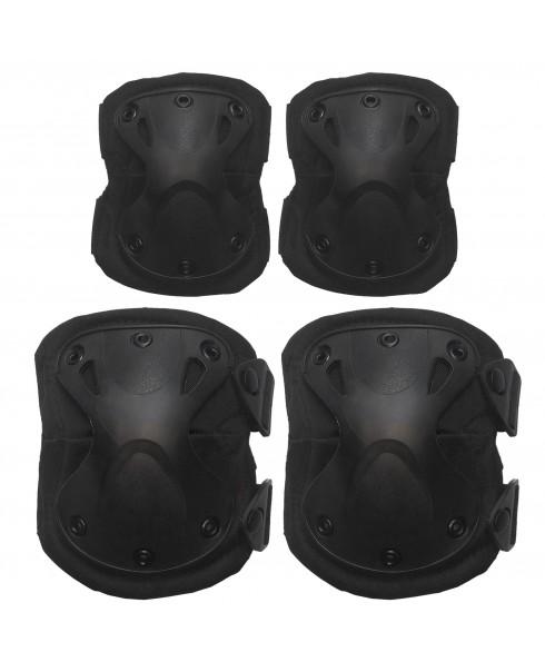 Set Ginocchiere Gomitiere Protezione Rigide Ginocchia Nere per Softair Exagon