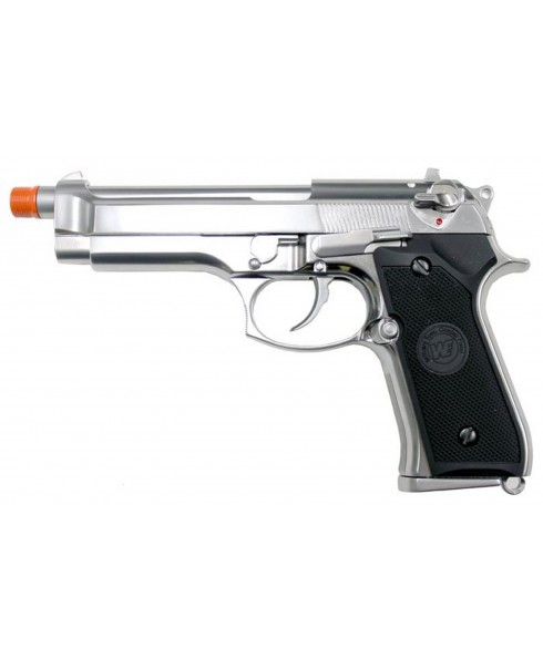 PISTOLA A GAS SILVER CROMO CROMATA IN ABS TIPO BERETTA 92 SCARRELLANTE PER SOFT AIR SOFTAIR SPRING TIME STTGGB9606S