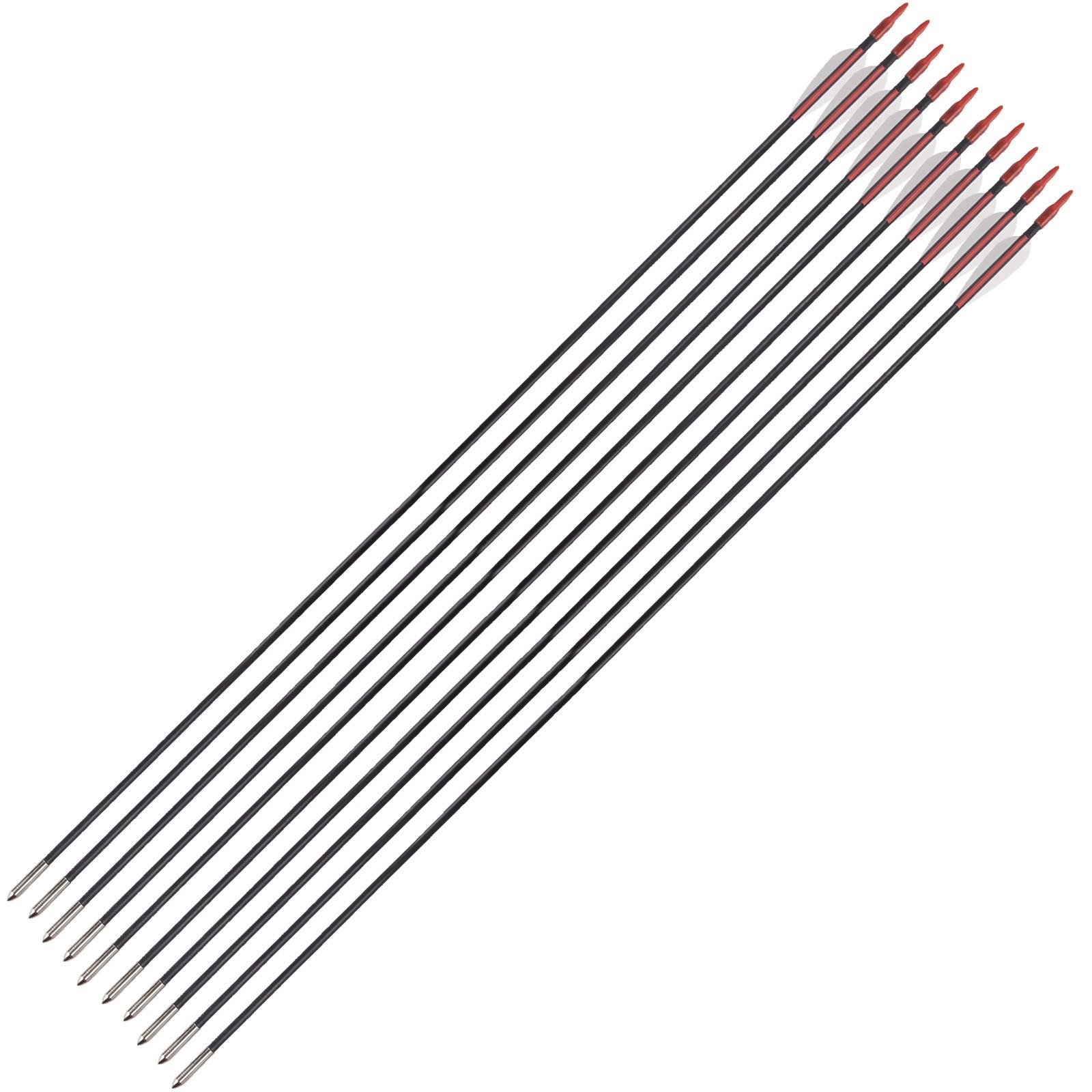 10 Frecce Freccia per Arco Tiro Bersaglio Fibra Archi 32 Pollici 6 mm
