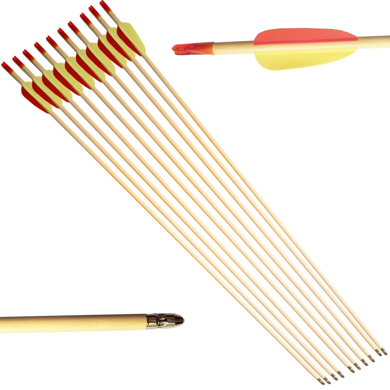 10 Frecce Freccia per Arco Tiro Bersaglio in Legno Archi 20 60 Libbre 28 Pollici