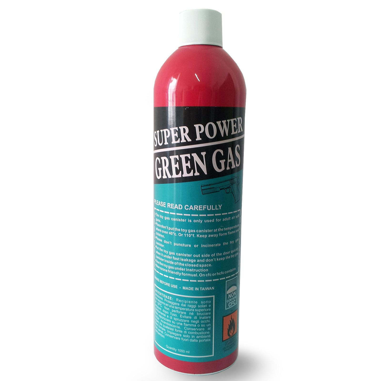 BOMBOLETTA BOMBOLA RICARICA GREEN GAS SUPER POWER PER SOFTAIR SOFT AIR DA 1000ML