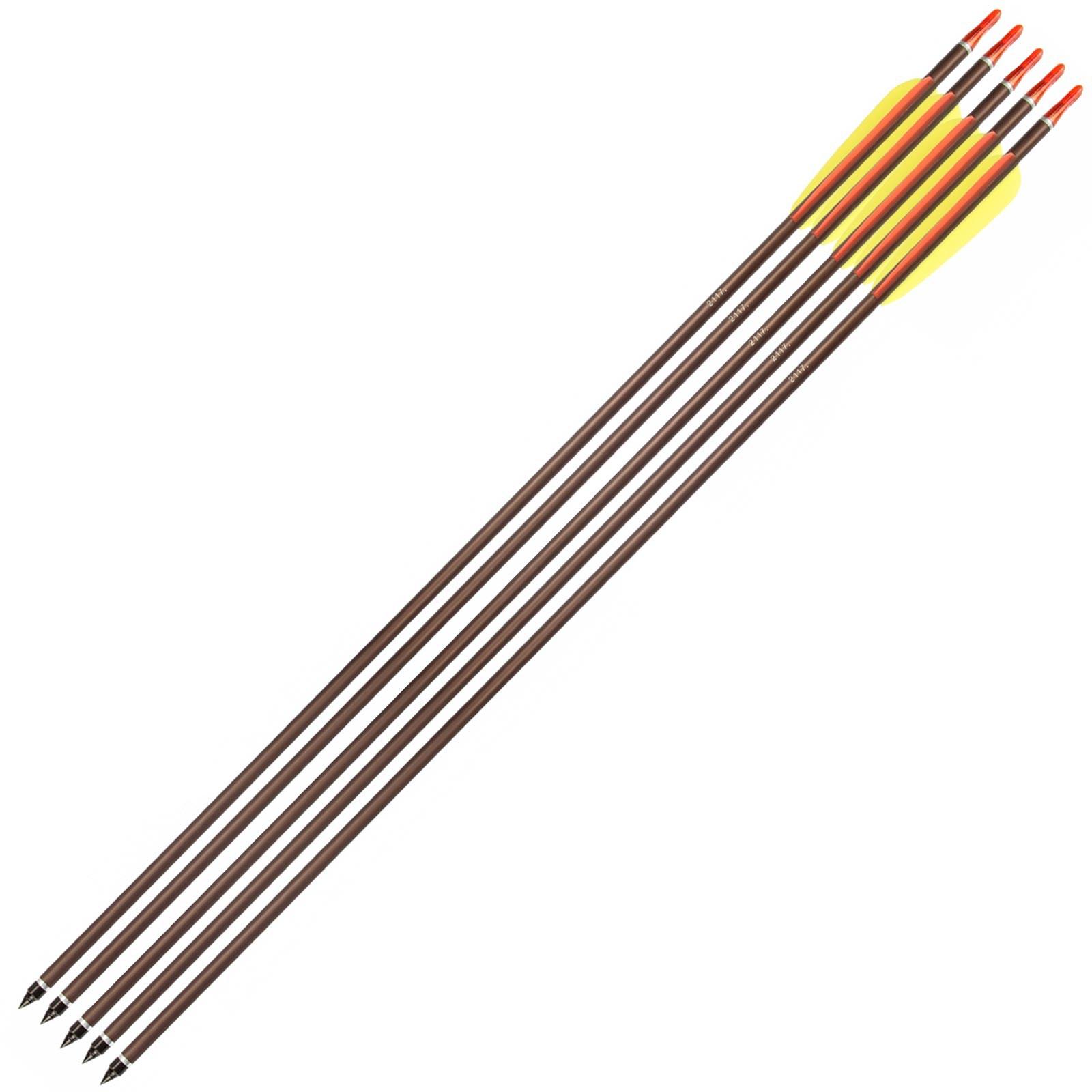 5 Frecce in Alluminio per Arco 30 Pollici Freccia Tiro Bersaglio 8mm