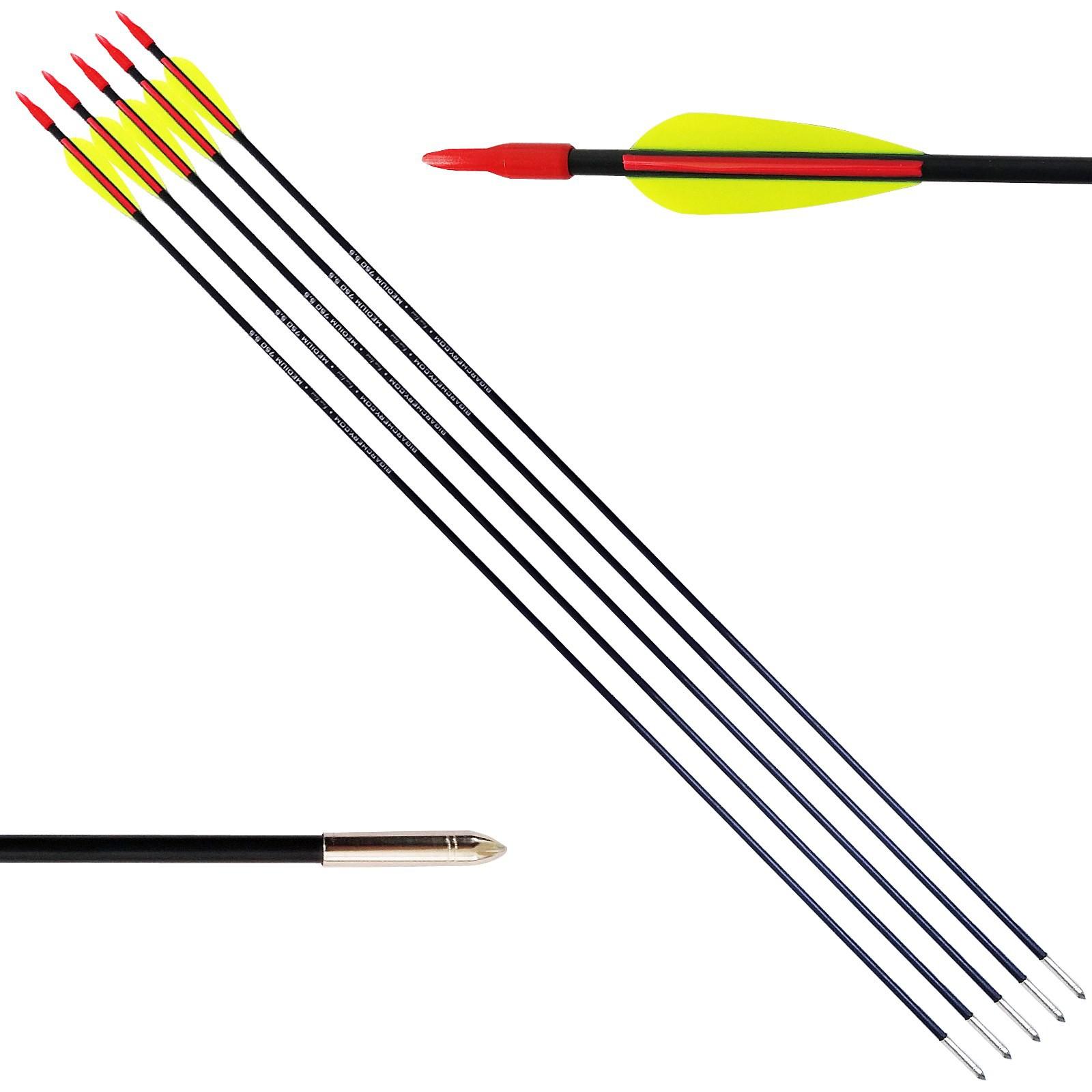 5 Frecce Freccia per Arco Tiro Bersaglio in Carbonio 75 cm 5.5 mm