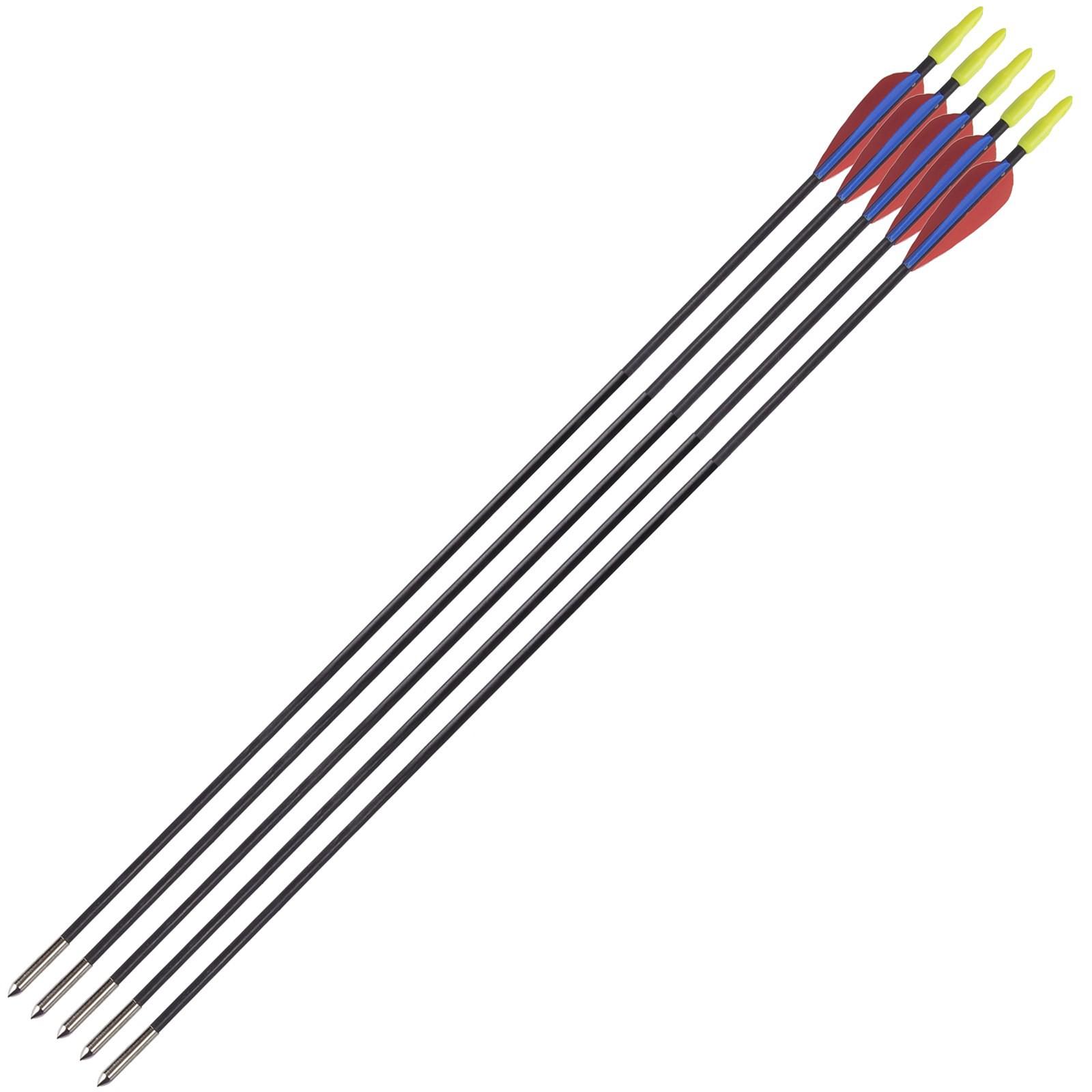 5 Frecce Freccia per Arco Tiro Bersaglio in Fibra 72 cm 5 mm