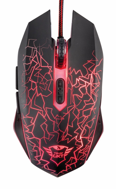 Mouse da Gioco Gaming Trust Nero Illuminato Rosso 6 Pulsanti 2400 DPI GXT 105