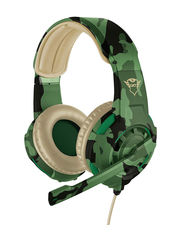 Cuffia Cuffie Trust Gaming Militare Suono Potente Mimetica Microfono Verdi Gioco