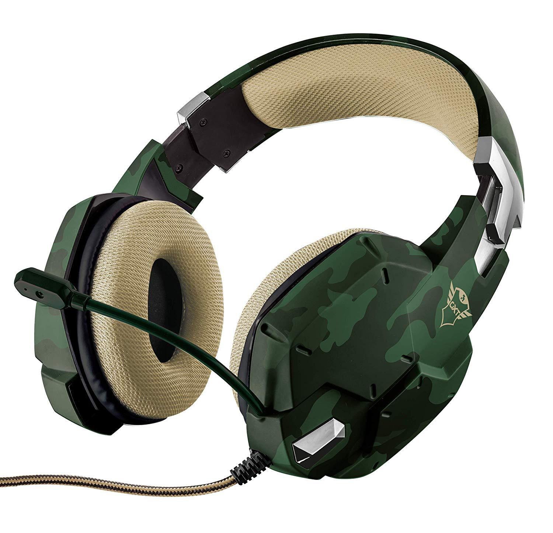 Cuffie da Gioco Trust Gaming Verde Mimetico Militare GXT 322C Suono Potente