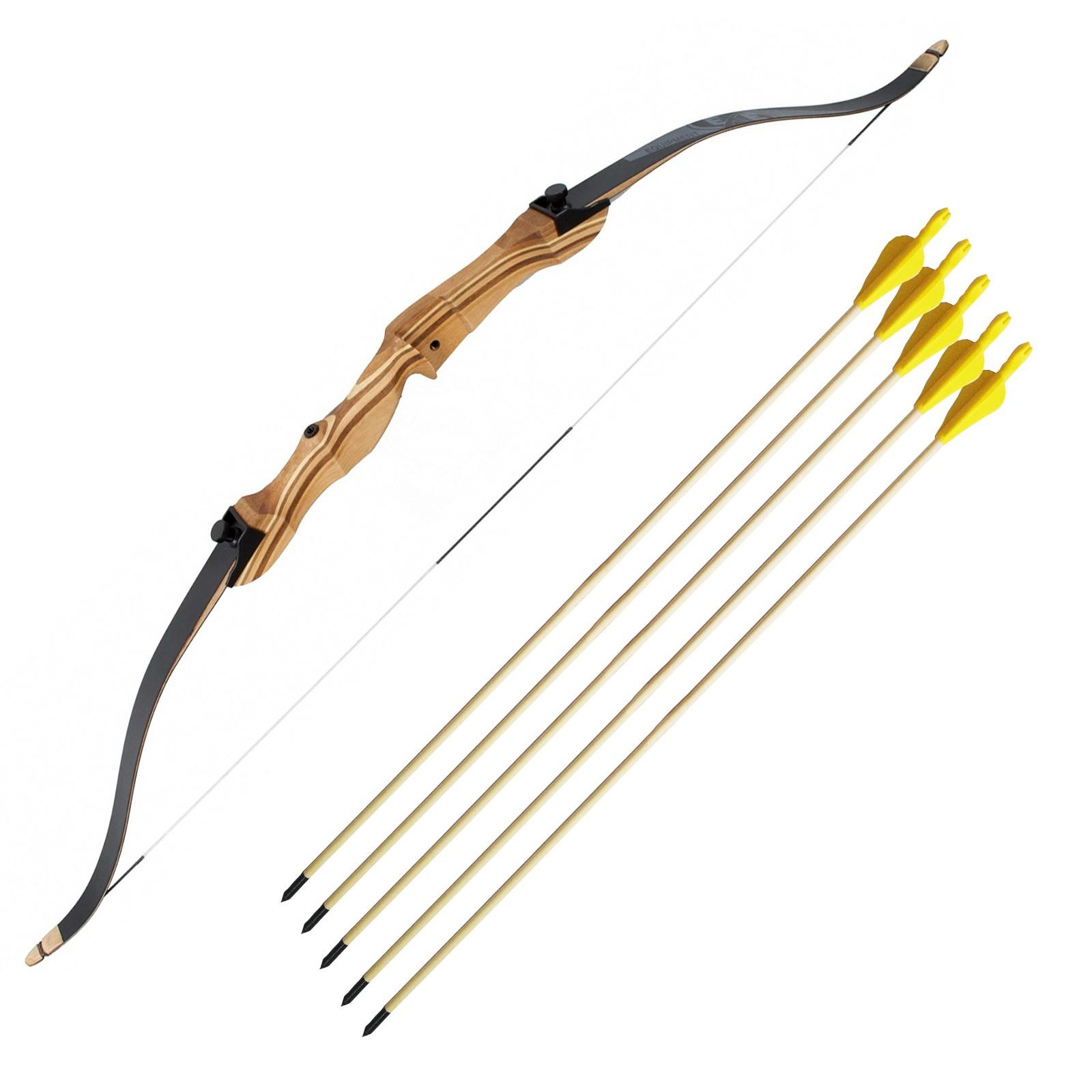 """Kit con arco in legno 54"""" Step 1 Jr Bk 5 Frecce 20/60 libbre royal punta fissa sport"""
