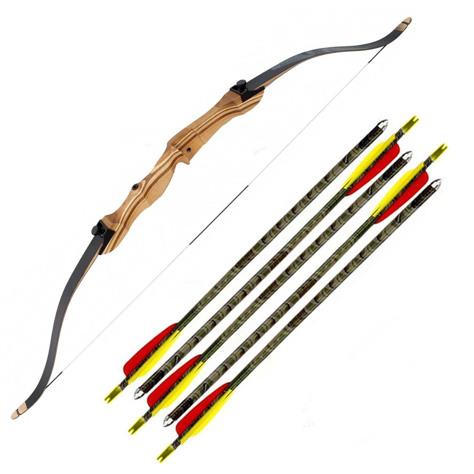 Kit arco ricurvo 54 pollici libbraggio 18 Frecce alluminio 29 pollici mimetiche
