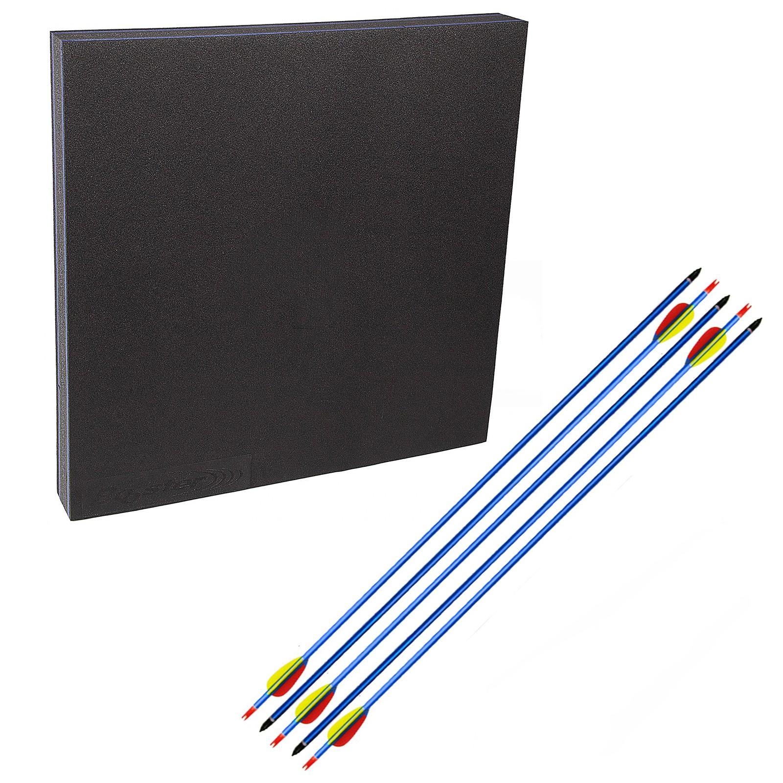 kit con battifreccia quadrato sintetico e 5 frecce alluminio blu 30 pollici