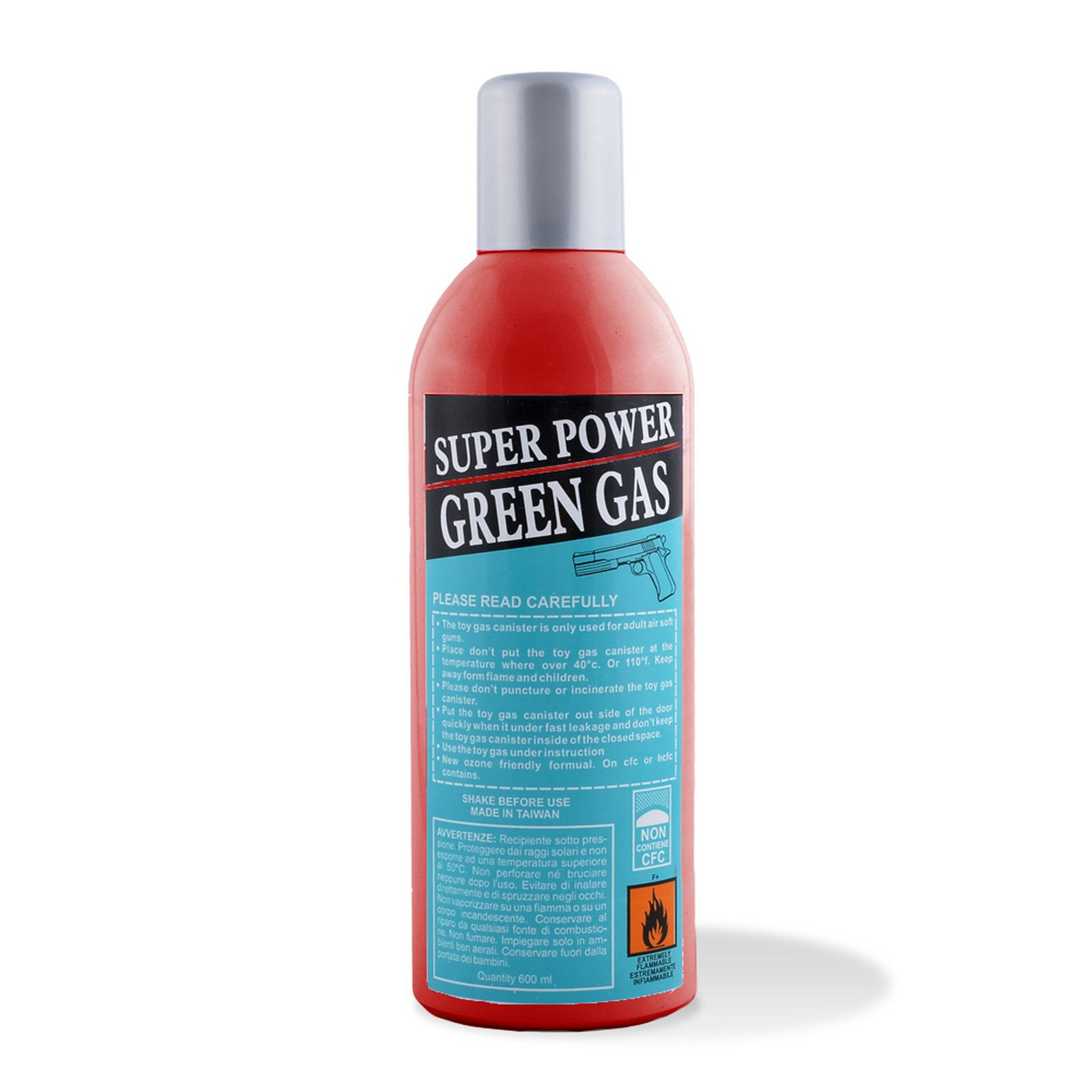 Bomboletta Bombola Green Gas Ricarica Softair Air Soft 600Ml Super Power Potente