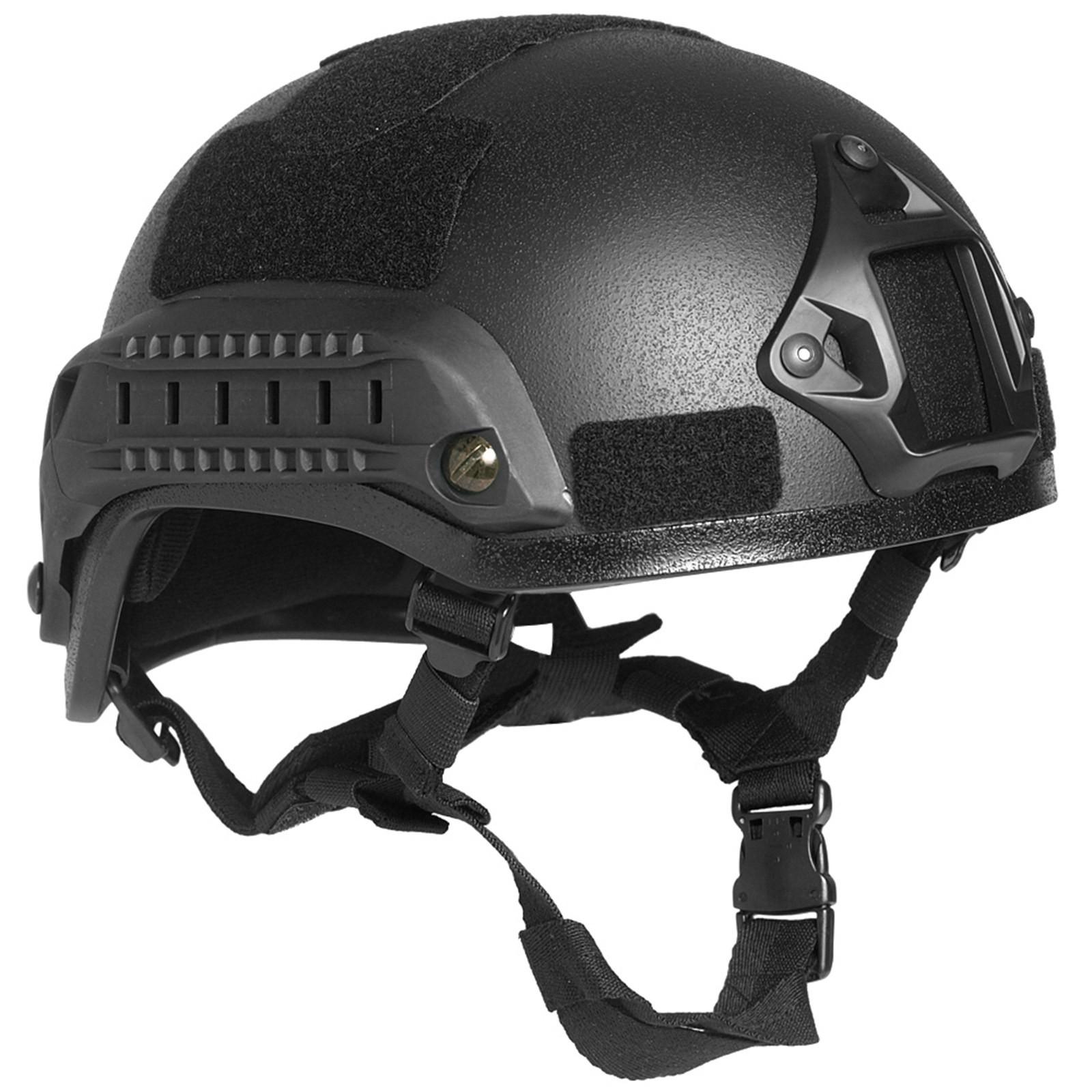 Casco Elmetto SOFTAIR Tattico Protettivo Militare Nero Imbottito Mich con Velcro
