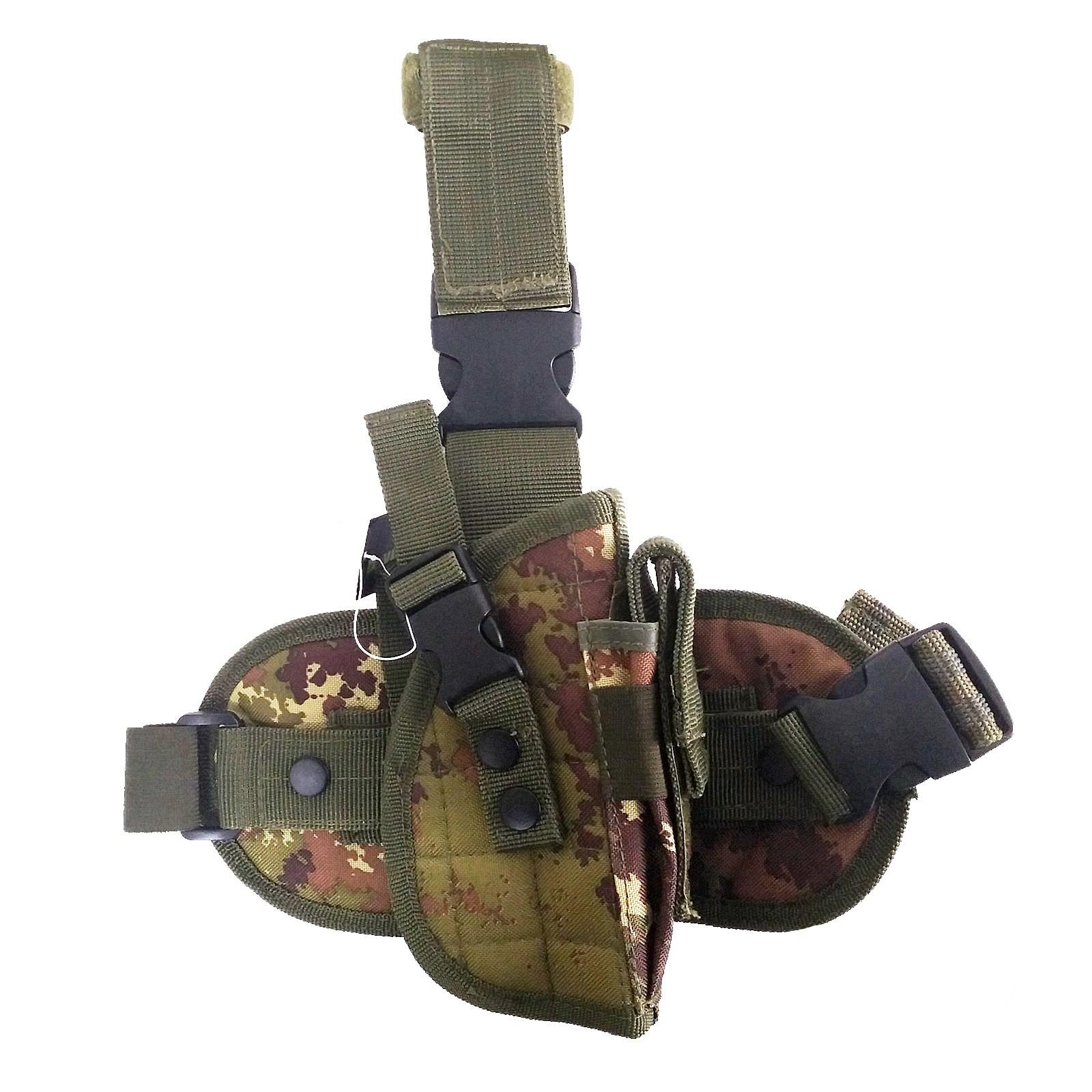 Fondina Cosciale per Pistola in Cordura Tactical Militare Mimetica Softair
