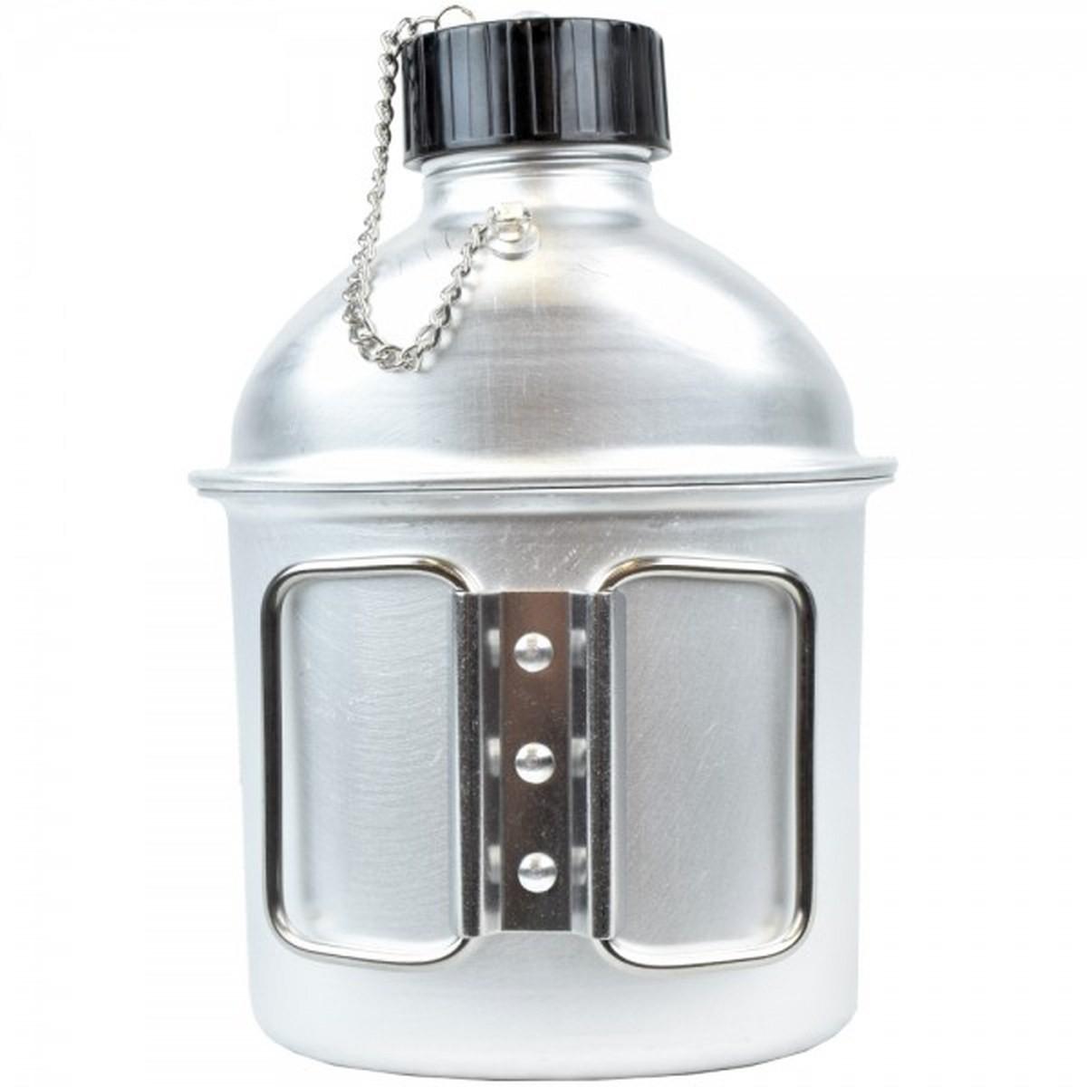 Borraccia Fiaschetta Bottiglia Militare in Alluminio con Tazza Bicchiere 1 Litro