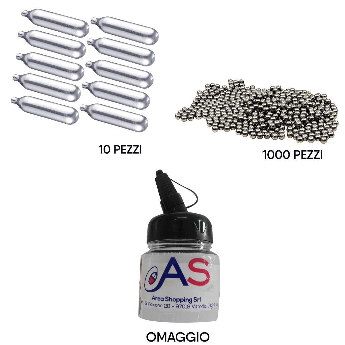 Kit Softair 10 Bombolette CO2 + 1000 Pallini Metallo 6 mm + Barattolo Omaggio