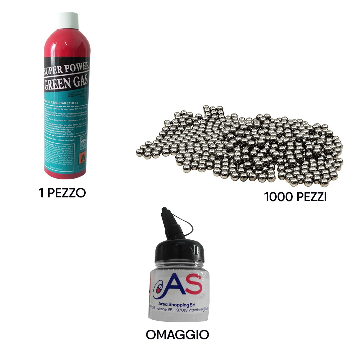 Kit Softair Bombola Gas 1000ml + 1000 Pallini 6mm Metallo + Portapallini Omaggio