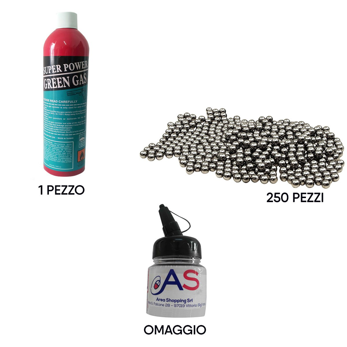 Kit Softair Bombola Green Gas 1000ml + 250 Pallini Metallo 6mm + Biberon Omaggio