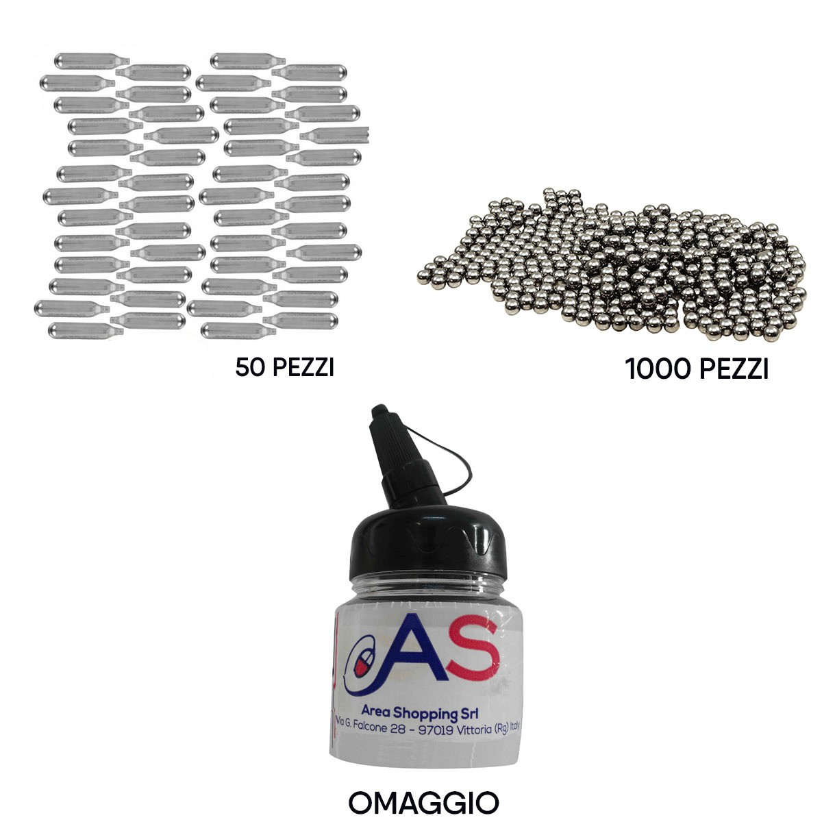 Kit Softair 50 Bombolette CO2 + 1000 Pallini Metallo 6 mm + Barattolo Omaggio