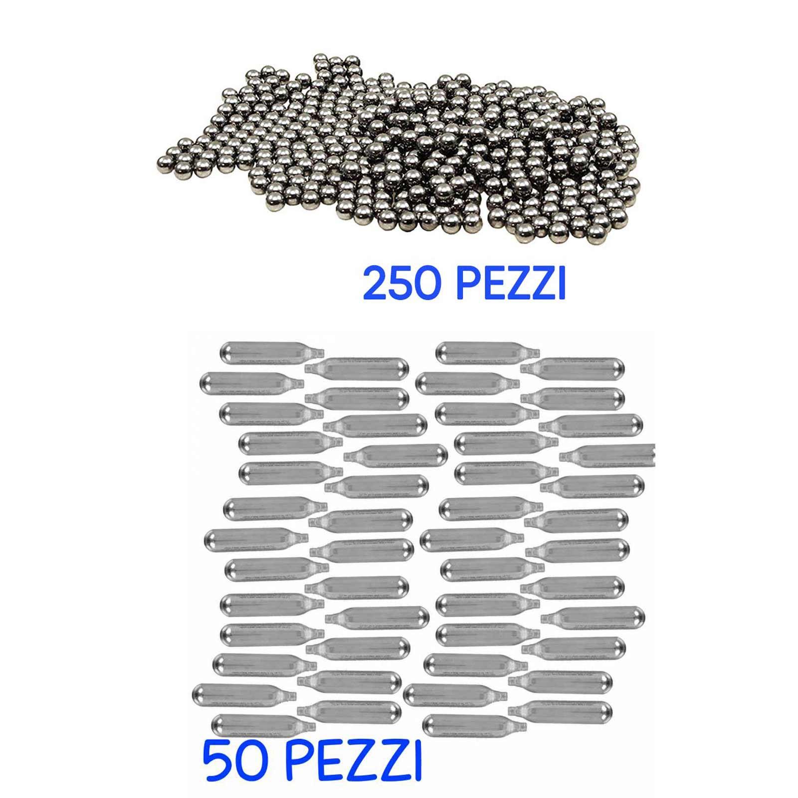 Kit Softair Gioco 50 Bombolette Ricarica CO2 250 Pallini Metallo 6 mm Lucidate